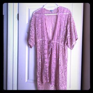 Pink lace kimono